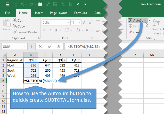 Use AutoSum to Create SUBTOTAL Formulas in Excel