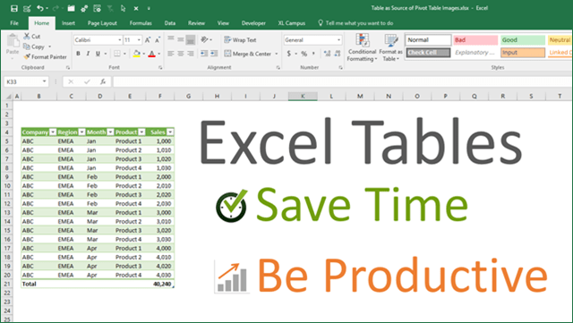 Excel Tables Save Time Be Productive