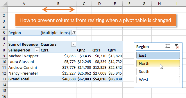 How to Stop Pivot Table Columns from Resizing on Change or