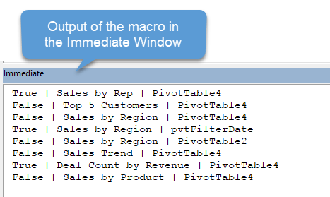 Output of the macro to list pivot table autofit setting