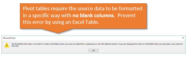 Pivot Table Field Name is Not Valid Error - No Blank Columns