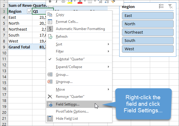 Pivot Table Field Settings Right Click Menu