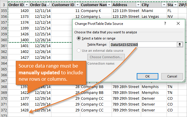 Pivot Table Source Data Range Manually Update for New Rows or Columns