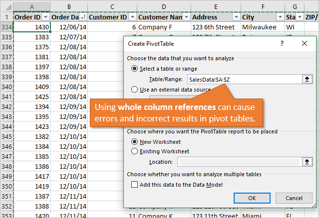 Whole Column References with Pivot Tables can Cause Errors