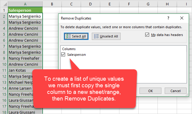 Copy Column to New Sheet then Remove Duplicates
