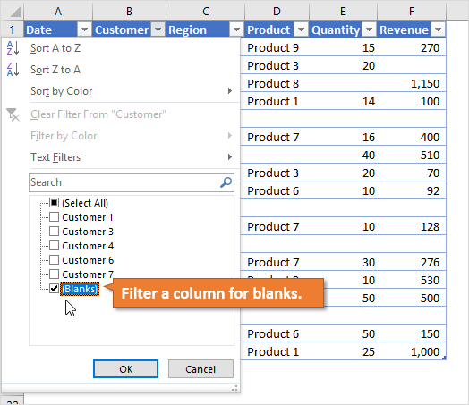 Filter a column for blanks