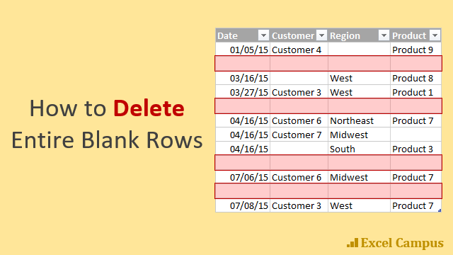 How to Delete Entire Blank Rows 640x360