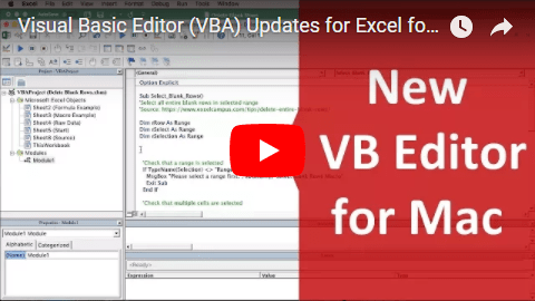 New VB Editor for Excel 2016 for Mac Video Thumb 480