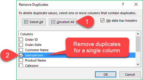 Remove Duplicates for a Single Column in Excel
