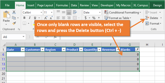 Select and Delete Blank Rows based on COUNTA formula column