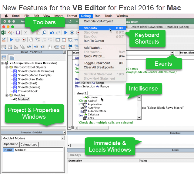 VB Editor Excel 2016 for Mac Features Update