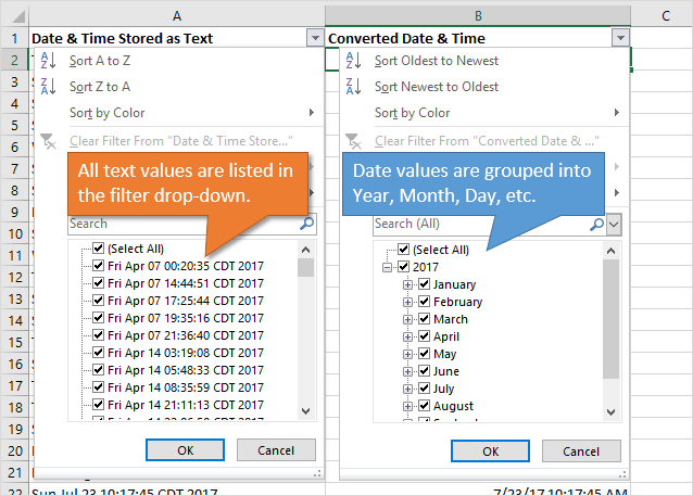 Filter Drop-down List Text versus Date Values