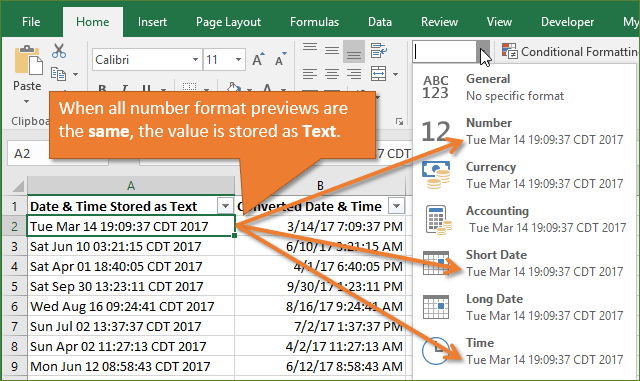 Number Format Drop-down Preview Same Date Stored as Text