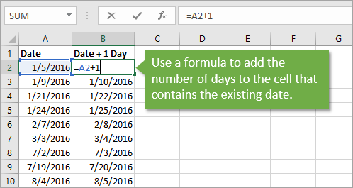 Formula to Add Days to Existing Date Value in Excel