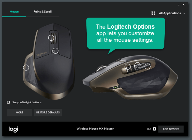 Logitech Options Application Control MX Master Mouse Settings