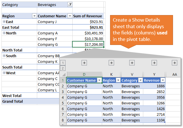 Only Display Used Fields on Pivot Table Show Details Sheet - Excel