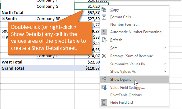 Double Click Cell in Pivot Table to Create Show Details Sheet