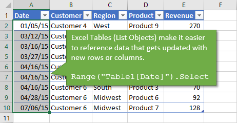 Excel Tables List Objects with VBA References