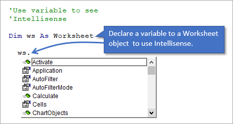 Use Variable to View Intellisense for Worksheet Object