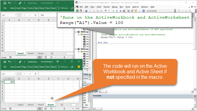 VBA Code Runs on the Active Workbook and Active Sheet if Not Specified