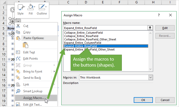 Assign Macros to Shapes in Excel