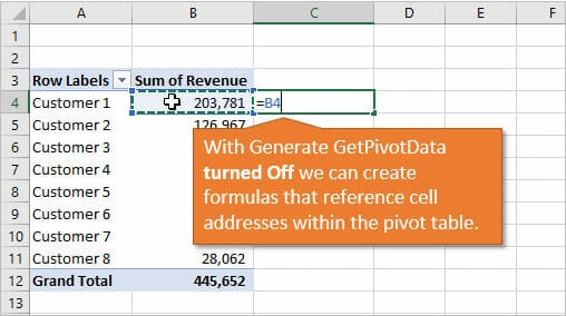 Create Normal Formulas with Cell References to Pivot Tables with Generate GetPivotData Off