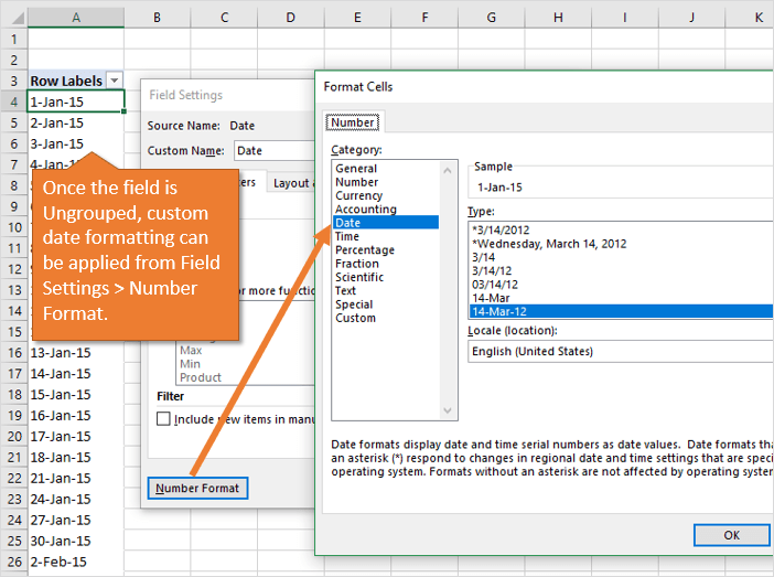 How to Change Date Formatting for Grouped Pivot Table Fields