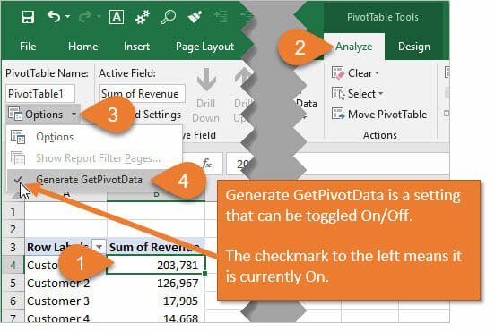 How to Turn Generate GetPivotData On or Off for Excel Pivot Tables
