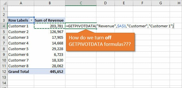How to turn off GETPIVOTDATA formulas in Excel Pivot Tables