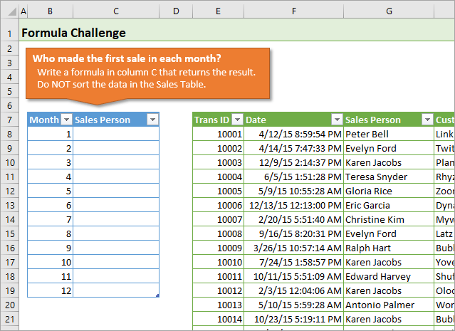 Formula Challenge - First Sale Lookup