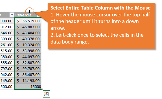 Select Entire Table Column with the Mouse 2