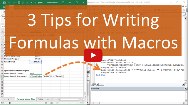 3 Tips for Writing Formulas with VBA Macros in Excel - Excel Campus