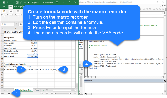 Create Formula VBA code with the Macro Recorder
