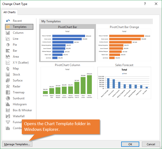 Manage Chart Templates