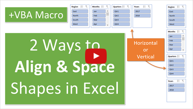 2 Ways to Align & Space Shapes in Excel Video Thumb 640