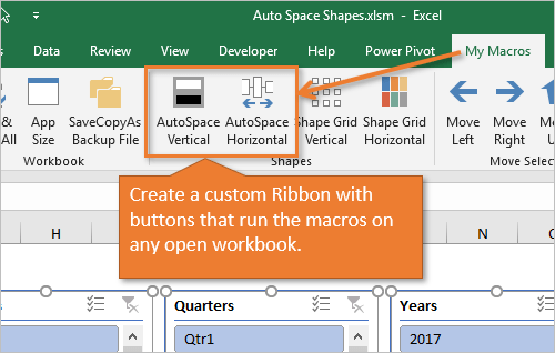 Custom Ribbon with Macro Buttons to Call AutoSpace Shapes Macros
