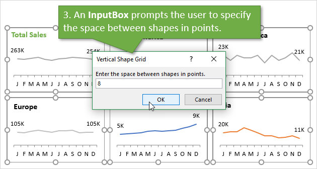 Step 3 InputBox Used to Specify Space Between Shapes in Points