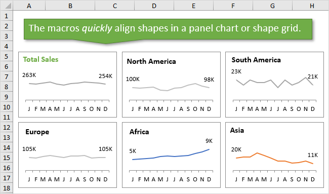 VBA Macro Align Shapes in a Panel Chart or Shape Grid in Excel