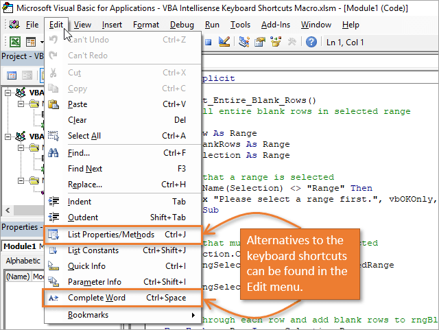 Access the Intellisense menu from the Edit dropdown