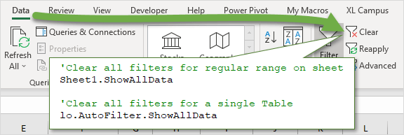 Clear All Filters on Sheet or Table with ShowAllData Method in VBA