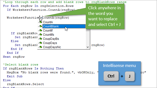 Ctrl + J Keyboard Shortcut to Use the Intellisense Menu