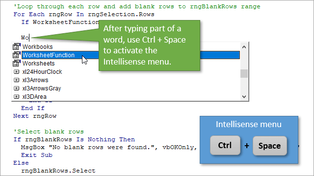Ctrl + Space Keyboard Shortcut to Use the Intellisense Menu