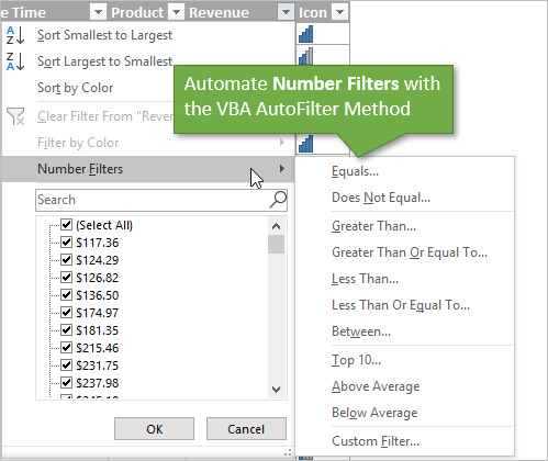 VBA AutoFilter Automate Number Filters