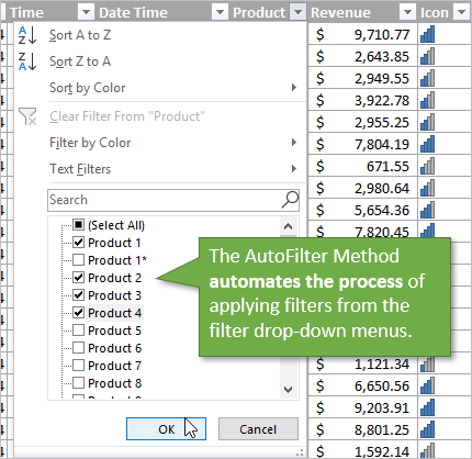 VBA AutoFilter Automates Filter Drop-down Menus