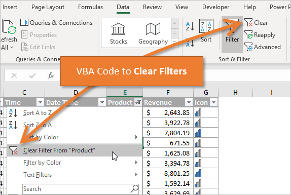 VBA Code to Clear Filters in Excel