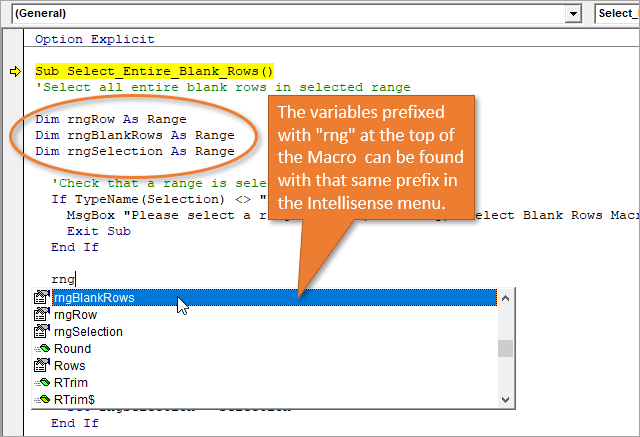 Variables declared with a prefix appear in the Intellisense menu