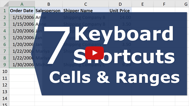 7 Keyboard Shortcuts Cells Ranges YouTube Thumb 640