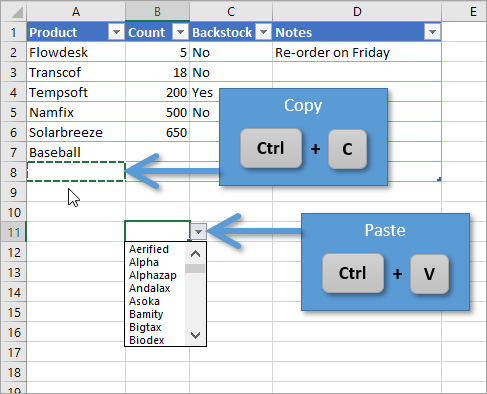 Copy and Paste Data Validation