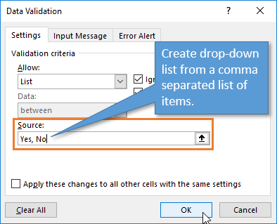 Data Valiation Window Comma Separated List