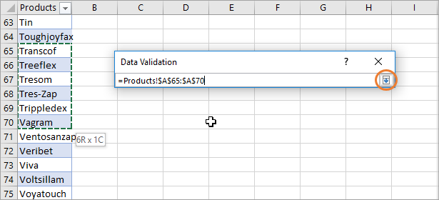Data Validation Choose a Range